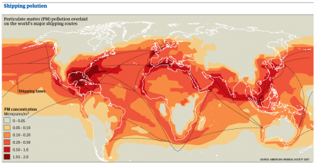 Particular Matter Pollution overlaid on the Major Shipping Routes